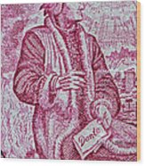 1965 Dante Anniversary Stamp Wood Print