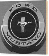 1965 Ford Mustang Emblem Wood Print