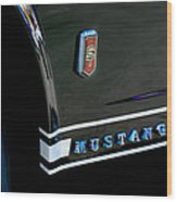 1965 Ford Mustang Gt Convertible Emblem Wood Print