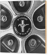 1965 Ford Mustang Gt Rim Black And White Wood Print