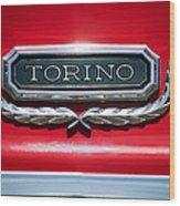 1965 Ford Torino Emblem Wood Print