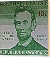 1965 Rwanda Abraham Lincoln Stamp Wood Print