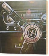1965 Shelby Prototype Ford Mustang Steering Wheel Emblem Wood Print by Jill Reger