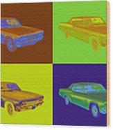 1966 Chevrolet Caprice 427 Muscle Car Pop Art Wood Print