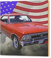 1966 Chevy Chevelle Ss 396 And United States Flag Wood Print