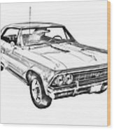 1966 Chevy Chevelle Ss 396 Illustration Wood Print