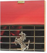 1966 Ferrari 330 Gtc Coupe Hood Ornament Wood Print