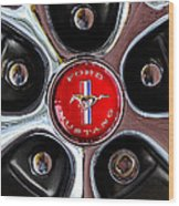 1966 Ford Mustang Gt Wheel Emblem Wood Print