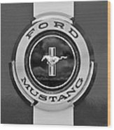 1966 Ford Mustang Shelby Gt 350 Emblem Gas Cap -0295bw Wood Print