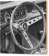 1966 Mustang Dashboard Bw Wood Print