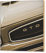 1966 Pontiac Gto In Sepia Wood Print