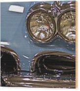 1967 Blue Corvette-front Left Wood Print