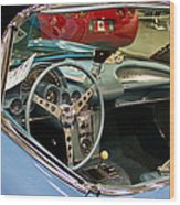 1967 Blue Corvette-interior And Wheel Wood Print