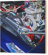 1967 Chevrolet Camaro Ss 350 Engine - Hood Emblem  Wood Print