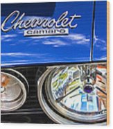1967 Chevrolet Camaro Ss 350 Headlight - Hood Emblem  Wood Print