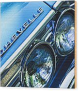 1967 Chevrolet Chevelle Malibu Head Light Emblem Wood Print