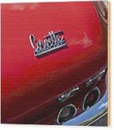 1967 Chevrolet Corvette Taillight Emblem Wood Print