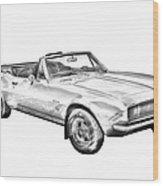 1967 Convertible Camaro Car Illustration Wood Print