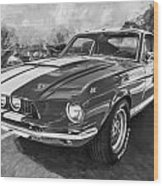 1967 Ford Shelby Mustang Gt500 Painted Bw Wood Print