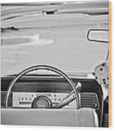 1967 Lincoln Continental Steering Wheel -014bw Wood Print