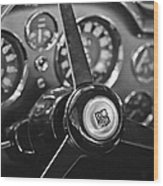 1968 Aston Martin Steering Wheel Emblem Wood Print