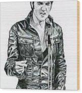 1968 Black Leather Suit Wood Print