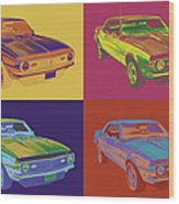 1968 Chevrolet Camaro 327 Muscle Car Pop Art Wood Print