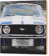 1968 Ford Mustang Front End Watercolor Wood Print
