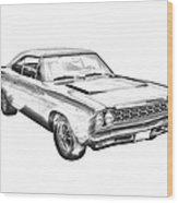 1968 Plymouth Roadrunner Muscle Car Illustration Wood Print