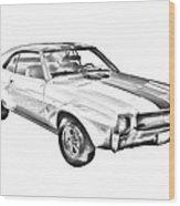 1969 Amc Javlin Car Illustration Wood Print
