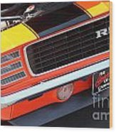 1969 Chevrolet Camaro Rs - Orange - Front End 7550 Wood Print