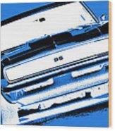 1969 Chevy Camaro Ss - Blue Negative Wood Print