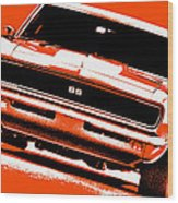 1969 Chevy Camaro Ss - Orange Wood Print