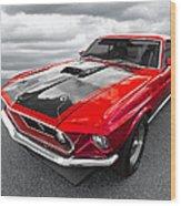 1969 Red 428 Mach 1 Cobra Jet Mustang Wood Print