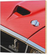 1969 Shelby Gt500 Convertible 428 Cobra Jet Hood - Grille Emblem Wood Print