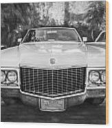 1970 Cadillac Coupe Deville Convertible Painted Bw Wood Print