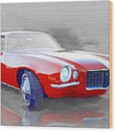 1970 Chevy Camaro Watercolor Wood Print
