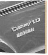 1970 Chevy Custom 350 Truck Bw Wood Print