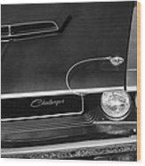 1970 Dodge Challenger T/a In Black And White Wood Print