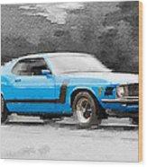 1970 Ford Mustang Boss Blue Watercolor Wood Print