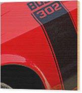 1970 Ford Mustang Sportsroof Boss 302 Emblem Wood Print