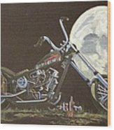 1970 Harley Chopper - Harley Moon Wood Print