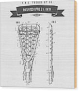 1970 Lacrosse Stick Patent Drawing - Retro Gray Wood Print