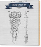 1970 Lacrosse Stick Patent Drawing - Retro Navy Blue Wood Print