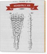 1970 Lacrosse Stick Patent Drawing - Retro Red Wood Print