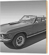 1970 Mach 1 Mustang 351 Cleveland In Black And White Wood Print