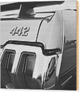 1970 Olds 442 Black And White Wood Print