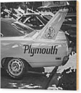 1970 Plymouth Road Runner Hemi Super Bird Bw Wood Print
