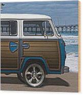1970 Vw Bus Woody Wood Print