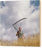 1970s Man Farmer Field Hand Wearing Wood Print